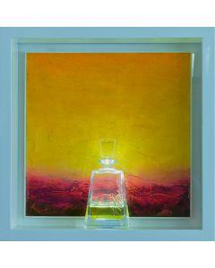 Andrea Morreale, Il risveglio, olio su tavola, cristallo, 2 dl Liquore Galliano, illuminazione a led con controllo acustico, 63x63x15 cm