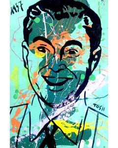 Andrew Tosh, Il simpaticone, acrilico e smalto su carta, 48x33 cm