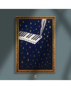 Aria Carelli, Il tasto in più, china e acrilico su carta mista cotone, 34x49 cm (con cornice)