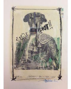 Enrico Pambianchi, Torero, disegno e collage su carta, 25x36 cm, 2016