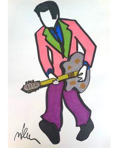 Marco Lodola, Rocker, disegno su carta, 30x42 cm