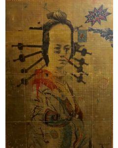 Enrico Pambianchi, Japanese Pulp, collage, olio, acrilico, matite, gessetti, resine su cartone d'arazzo, 115x170 cm