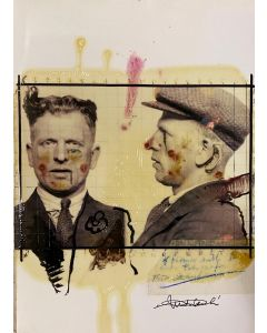 Enrico Pambianchi, Foto segnaletica, collage, olio, acrilico, matite, gessetti e resine su carta fotografica, 29,7x21 cm