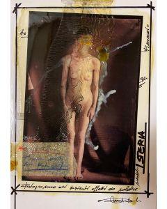 Enrico Pambianchi, Hysteria, collage, olio, acrilico, matite, gessetti e resine su carta fotografica, 29,7x21 cm