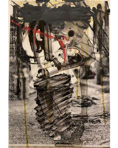Enrico Pambianchi, Senza titolo, collage, olio, acrilico, matite, gessetti e resine su carta fotografica, 30x21 cm