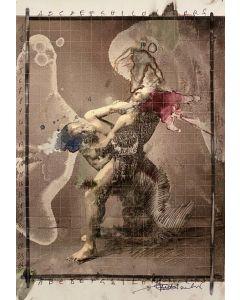 Enrico Pambianchi, Lottatori di sumo, collage, olio, acrilico, matite, gessetti e resine su carta fotografica, 21x30 cm