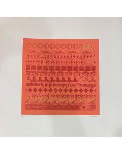 Giancarlo Iliprandi, Cinque secoli di stampa, Serigrafia Rossa, 50x50 cm, 1996