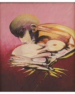 Remo Brindisi, Pastorale, olio su tela, 56x50 cm, 1971
