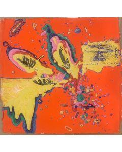 Renzo Nucara, Omaggio a Leonardo, serigrafia polimaterica e collage, 50x50 cm
