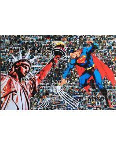 Maria Murgia, Serie supereroi: Superman, fotomosaico digitale su pannello Kapafix intagliato a mano, 50x75 cm, 2020