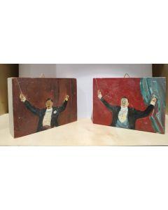 Anonimo, Direttori d'orchestra, olio su tavola, 10x7,5 cm