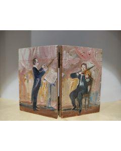Anonimo, Prove d'orchestra, tempera su tavola, 12x9 cm