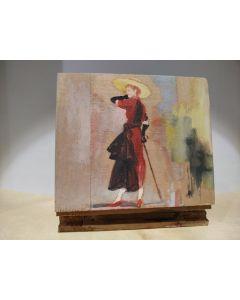 Anonimo, Donna a passeggio, tempera su tavola, 12x0,9 cm