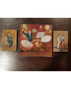 Anonimo, Musicisti, tempera su tavola, 10x10 cm, 6,3x4,3 cm, 6,3x4,3 cm