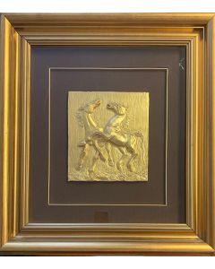 Camillo Fait, Cavalli, bassorilievo, 21x24 cm (58x63 cm con cornice)