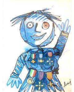 Enrico Baj, Bambino decorato, collage su carta, 65x50 cm