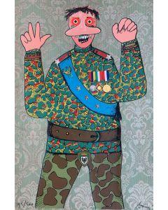 Enrico Baj, Strategia del Doppio Gioco, multiplo, collage su broccato, 90x60 cm, 1971