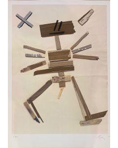 Enrico Baj, Senza titolo, Tecnica mista su carta, 100x70 cm, 1980