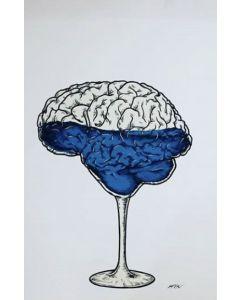 Loris Dogana, Brain of glass, acrilico e marker su tavola, 100x80 cm