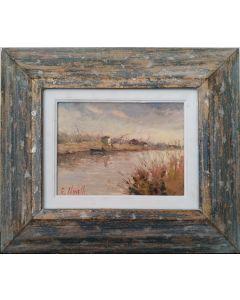 Giampiero Novelli, Marina di Pisa, olio su cartoncino, 32,5x38,5 cm (con cornice)