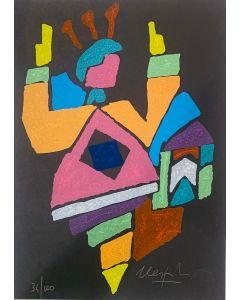Ugo Nespolo, Personaggio futurista, serigrafia, 32,5x23 cm