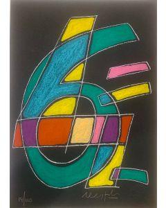Ugo Nespolo, Numeri, serigrafia, 32,5x23 cm