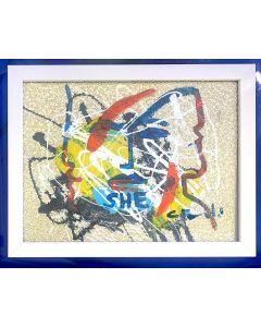 Carlo Massimo Franchi, She Kalos, tecnica mista su ecopelle, 23x17 cm (27x20 cm con cornice)