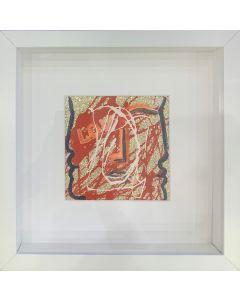 Carlo Massimo Franchi, Kalos, tecnica mista su ecopelle, 11x11 cm ( 25,5x25,5 cm con cornice)
