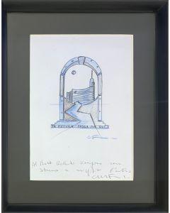 Carlo Massimo Franchi, Il futuro passa da qui, bozzetto su carta, 23x28 cm (31x39 cm con cornice)
