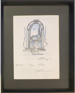Carlo Massimo Franchi, Milano Vola Alto, bozzetto su carta, 23x28 cm (31x39 cm con cornice)