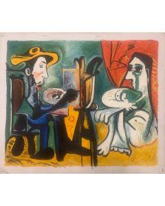 Sconosciuto, Omaggio a Picasso, acrilico su tela, 68x58 cm