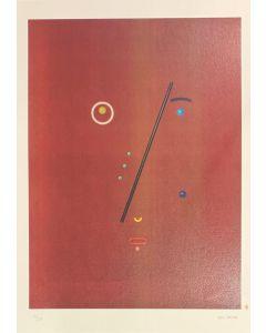 Bruno Budassi (Del Buda), Personaggio stellare (viso bordeaux), Grafica, 32x45 cm
