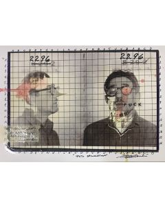 Enrico Pambianchi, Foto segnaletica, collage, acrilico, matite, gessetti e resine su carta fotografica, 21x29,7 cm
