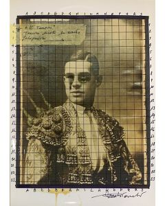 Enrico Pambianchi, Il torero, collage, acrilico, matite, gessetti e resine su carta fotografica, 21x29,7 cm