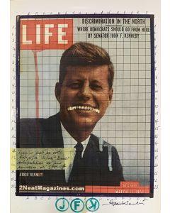 Enrico Pambianchi, JFK, collage, acrilico, matite, gessetti e resine su carta fotografica, 21x29,7 cm