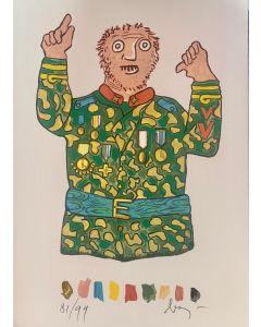 """Enrico Baj, Il Generale, tratto dalla cartella """"La Visita"""" di Roberto Sanesi, serigrafia, 50x35 cm, 1994"""