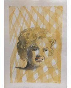 Oscar Morosini, Marilyn Monroe, acquarello su carta,  25,5x35,5cm