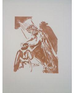 Salvador Dalì, Febo, il dio coronato, stampa a due colori, 27x21 cm