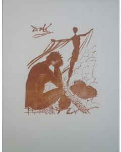 Salvador Dalì, Il giovane Icaro, stampa a due colori, 27x21 cm