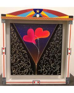Meloniski da Villacidro, Oltre il mondo accademico, tecnica mista polimaterica su tela con cornice a teatrino, 35x35 cm (45x49 cm teatrino)
