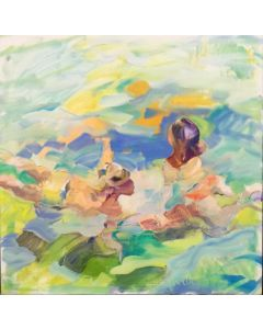 Claudio Malacarne, Luminescenze, olio su tela, 60x60 cm