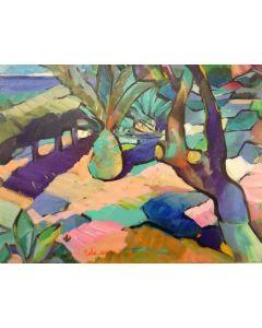 Claudio Malacarne, Il giardino delle ombre viola, olio su tela, 30x40 cm