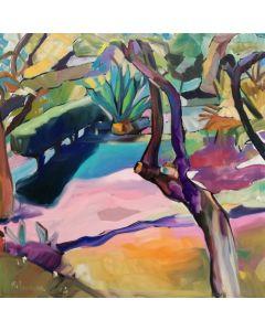 Claudio Malacarne, Angolo di giardino, olio su tela, 80x80 cm