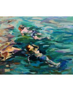 Claudio Malacarne, Tourquoise, olio su tela, 100x80 cm