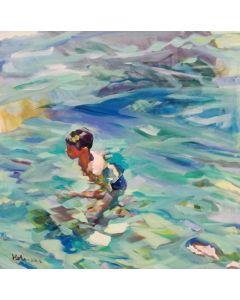 Claudio Malacarne, Dall'alto, olio su tela, 80x80 cm