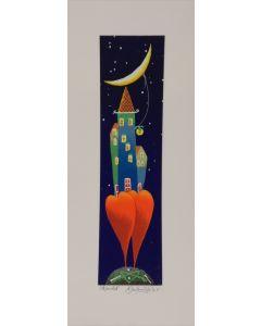 Meloniski da Villacidro, Piccolo borgo, serigrafia e collage ritoccata a mano, 14,5x35,5 cm