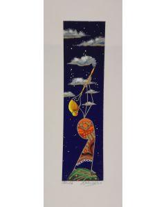 Meloniski da Villacidro, Fabbricante di nuvole, serigrafia e collage ritoccata a mano, 14,5x35,5 cm