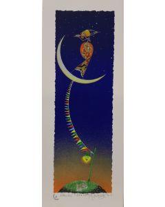 Meloniski da Villacidro, Luna in festa, retouché con inserti di brillantini, 20x50 cm