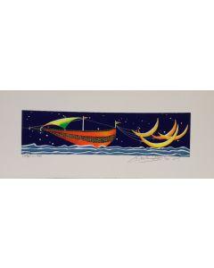 Meloniski da Villacidro, Veliero, serigrafia e collage ritoccata a mano, 14,5x35,5 cm