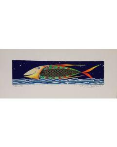 Meloniski da Villacidro, Pesce, serigrafia e collage ritoccata a mano, 14,5x35,5 cm